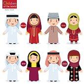 Kids in different traditional costumes (Bahrain, Oman, Qatar, Jordan)