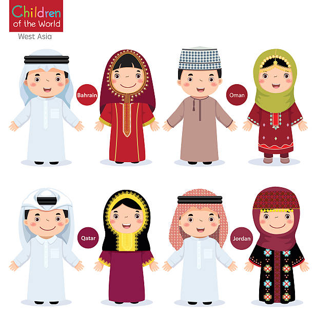 kids in different traditional costumes (bahrain, oman, qatar, jordan) - oman stock illustrations