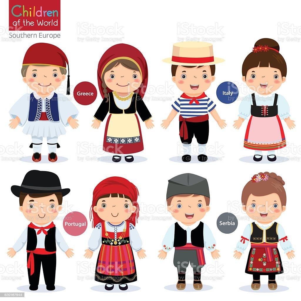 Diversi Bambini In Costumi Tradizionali Grecia Italia Portogallo ... e11d1081126