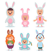 Kids in Easter bunny costume vector cartoon character set. Cute boys and girls dressed in a suit and mask rabbit isolated on white background.