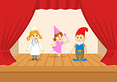 Kids in fairy costumes performing on the stage of the theater. The play in the kindergarten. Colorful flat vector illustration, isolated on white background.