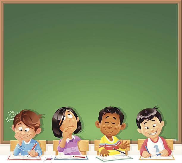 Kids in Front of Blackboard vector art illustration