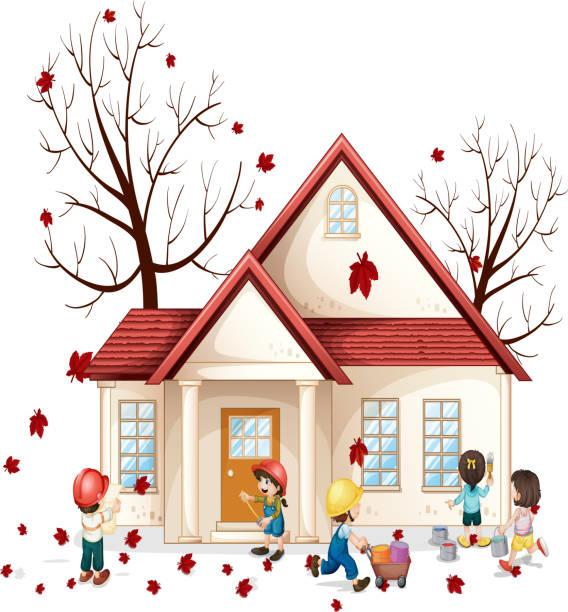 kinder in front of house - fallrohr stock-grafiken, -clipart, -cartoons und -symbole