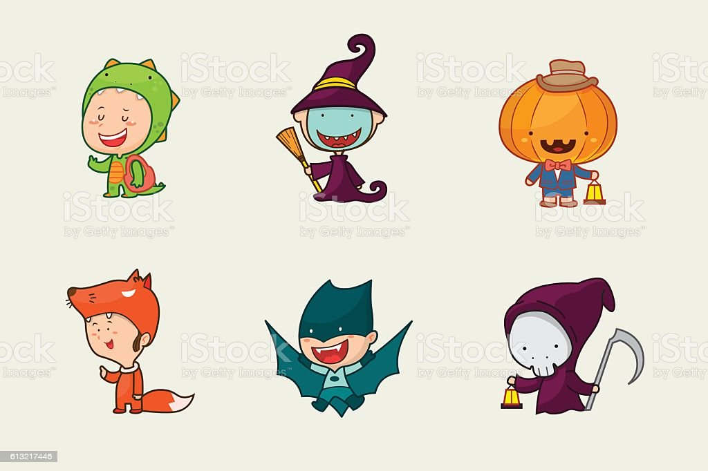 Cute Boy Character Design : Kids in halloween costume cute character design vector