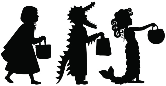 Kids in Halloween Costumes silhouettes