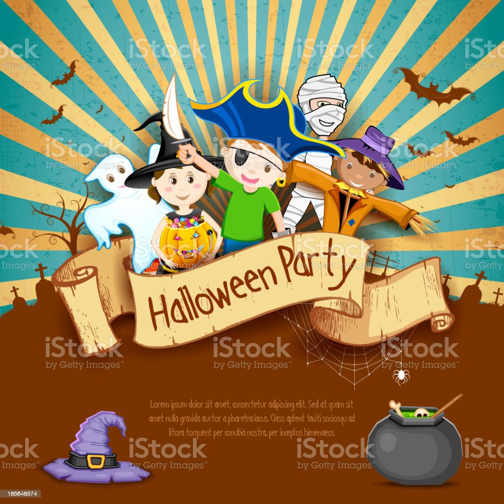 Kids in Halloween Party royalty-free stock vector art