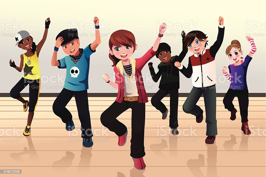 Kids in hip hop dance class vector art illustration