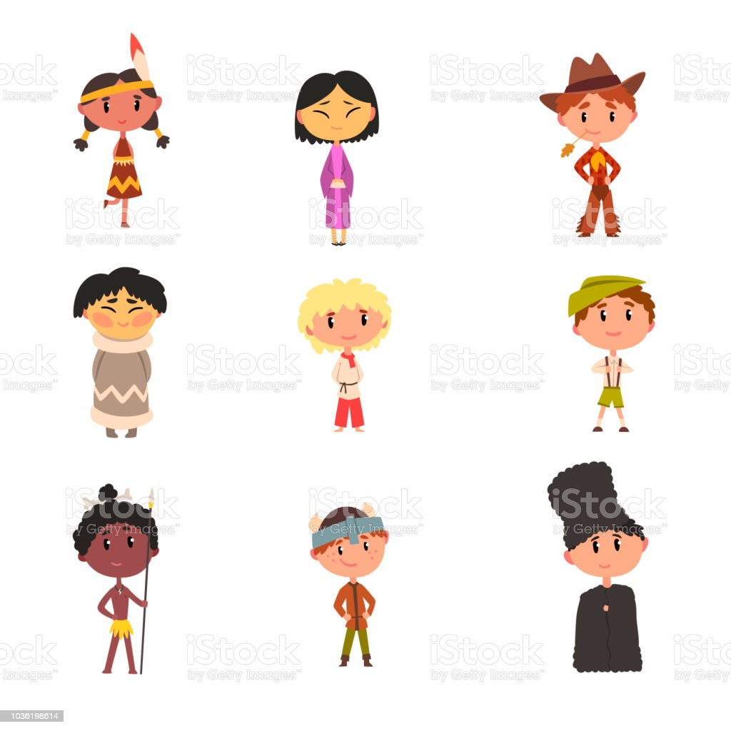 62edb651e Kids in national clothes, boys and girls cartoon characters in traditional  costume of American Indian