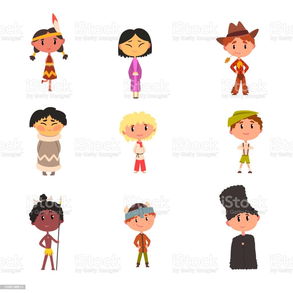 Kinder In Nationale Kleidung Jungen Und Mädchen Comicfiguren In