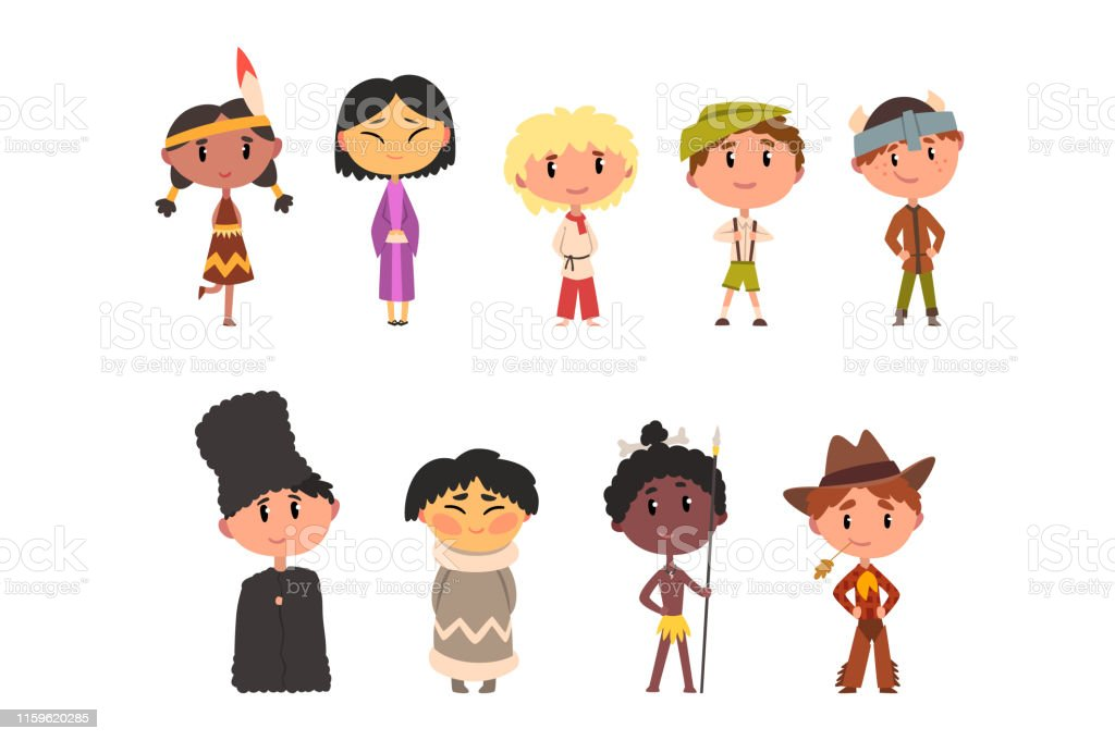 australian cartoon characters kids in national clothes boys and girls cartoon characters