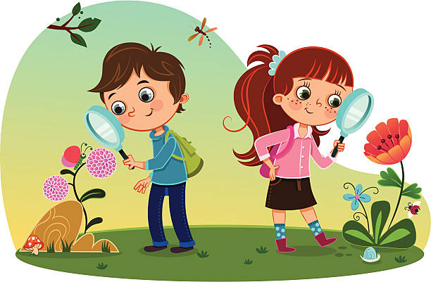kids in nature - bugs stock illustrations, clip art, cartoons, & icons