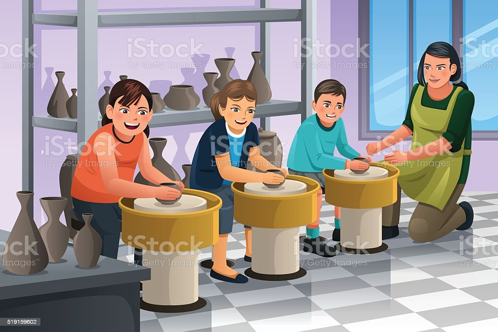Kids in Pottery Class vector art illustration