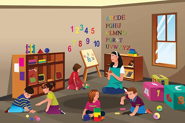 ilustrações, clipart, desenhos animados e ícones de crianças na pré-escolar - professor de pré escola