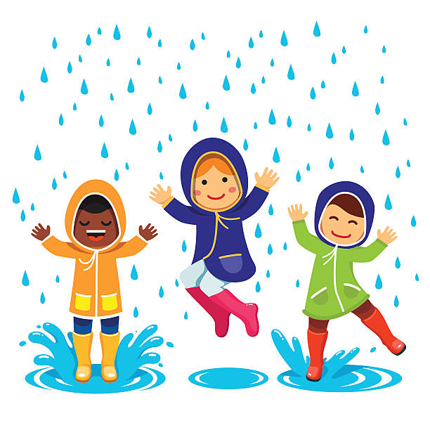 kids in raincoats and rubber boots playing - kids playing in rain stock illustrations, clip art, cartoons, & icons