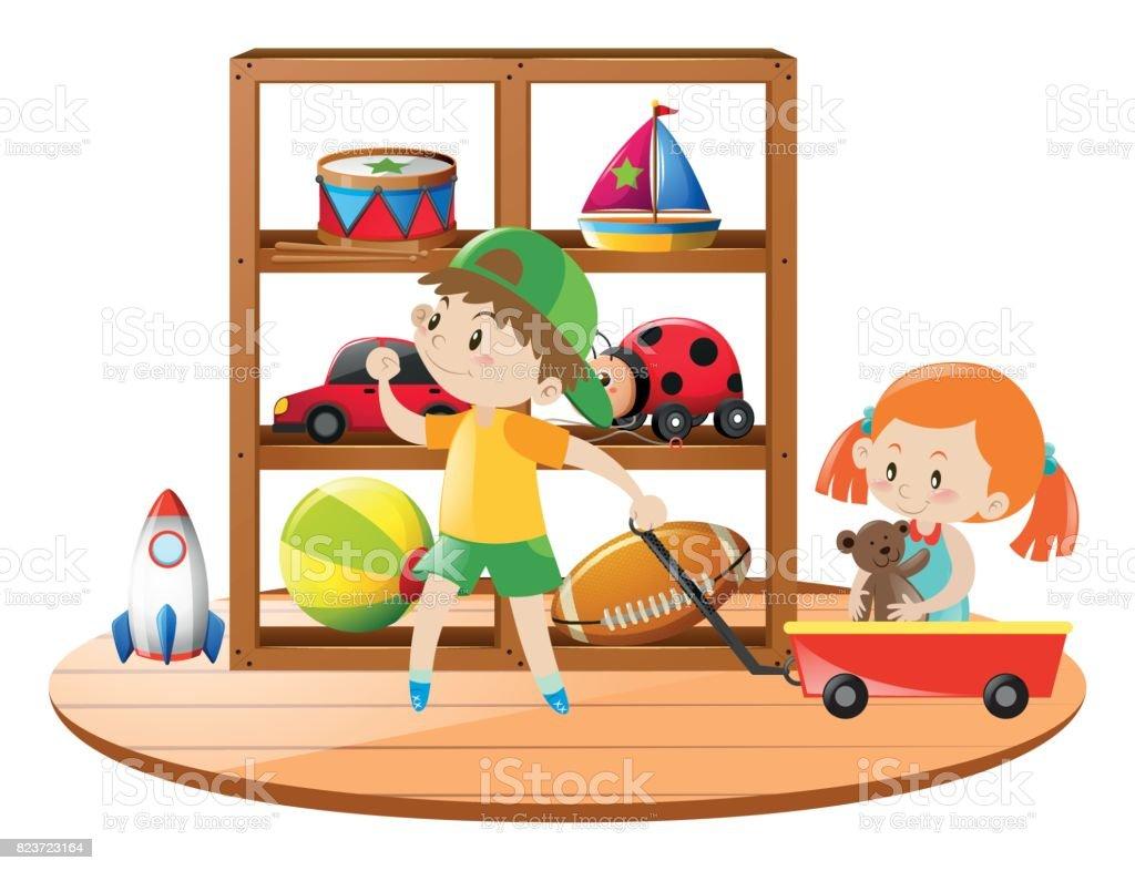 Kinder Und Wagen Voller Spielzeug Stock Vektor Art und mehr