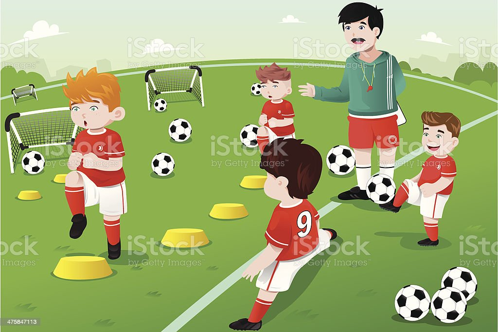 Kids in soccer practice royalty-free kids in soccer practice stock vector art & more images of activity