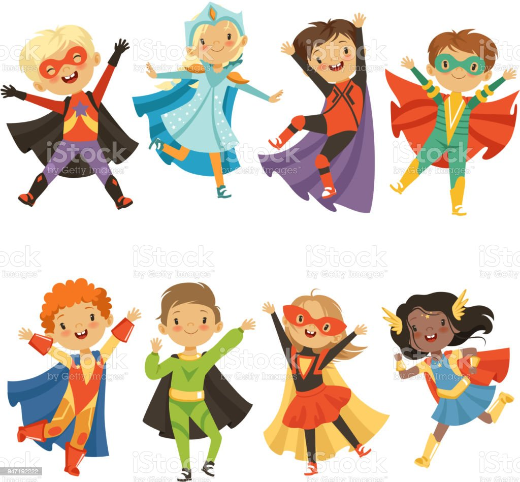 Kids in superhero costumes. Funny characters isolate on white background vector art illustration