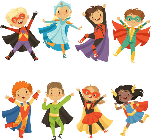 Kids in superhero costumes. Funny characters isolate on white background Kids in superhero costumes. Funny characters isolate on white background. Comic character kids in superhero costume, vector illustration carnival children stock illustrations