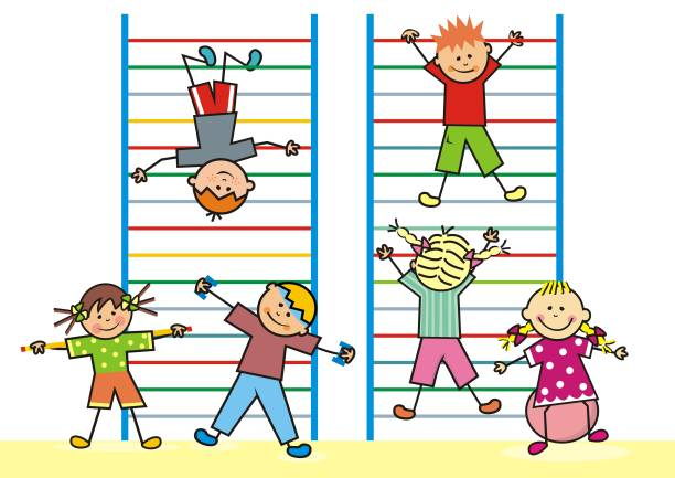 kids in the gym on the ladders, vector icon. - monkey bars stock illustrations, clip art, cartoons, & icons