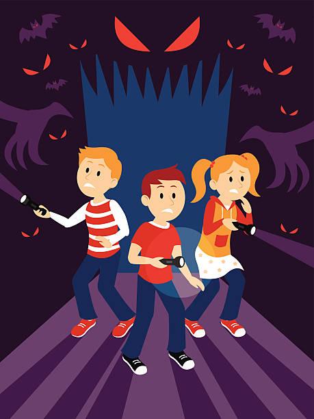 ilustrações de stock, clip art, desenhos animados e ícones de crianças em casa assombrado clipart - going inside eye