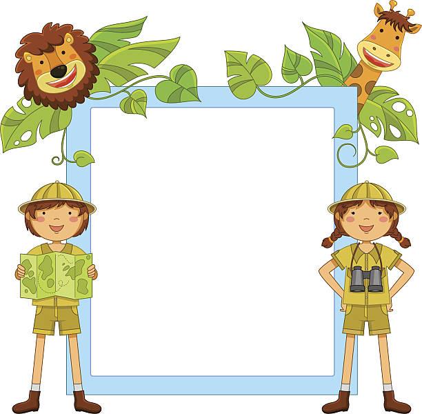 kinder in den dschungel - giraffenkostüm stock-grafiken, -clipart, -cartoons und -symbole