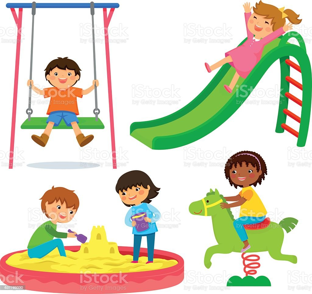 kids in the playground vector art illustration