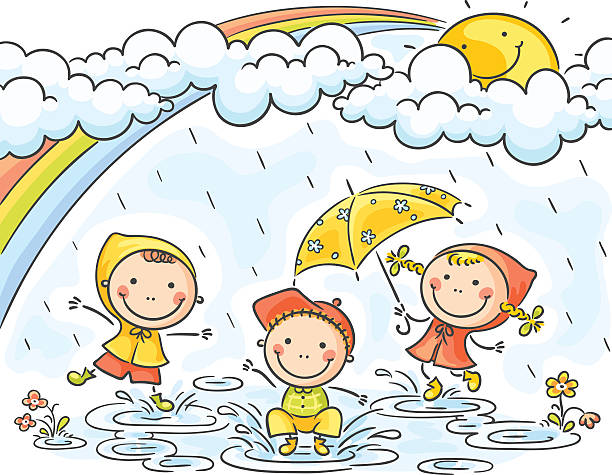 kids in the rain - kids playing in rain stock illustrations, clip art, cartoons, & icons
