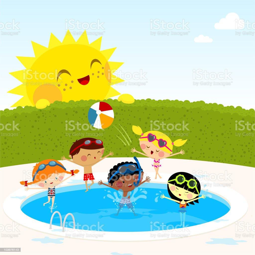 Enfants dans la piscine - Illustration vectorielle