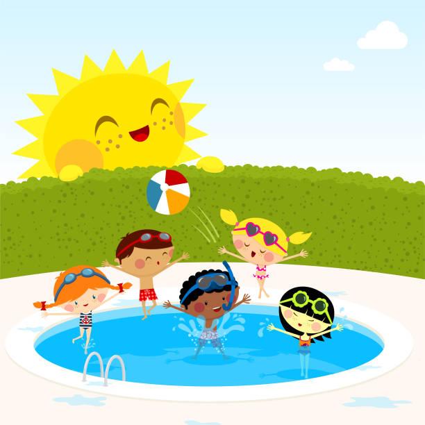 ilustrações de stock, clip art, desenhos animados e ícones de crianças na piscina swiming - jump pool, swimmer