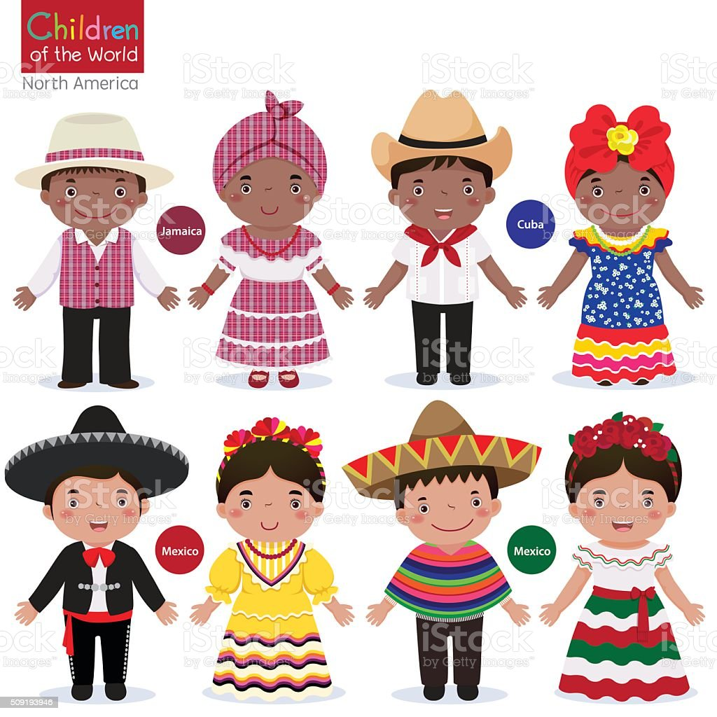 Kids in traditional costume-Jamaica-Cuba-Mexico vector art illustration