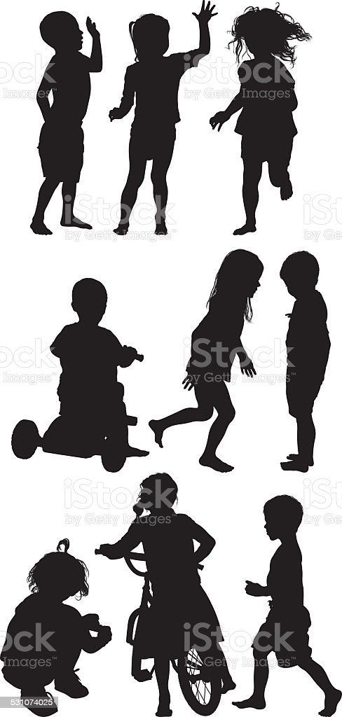 Kids in various activities vector art illustration