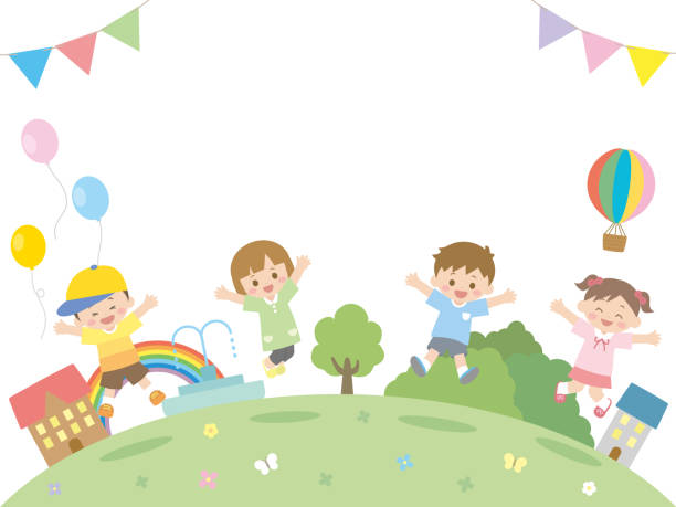 stockillustraties, clipart, cartoons en iconen met kinderen jump2 - kinderdag
