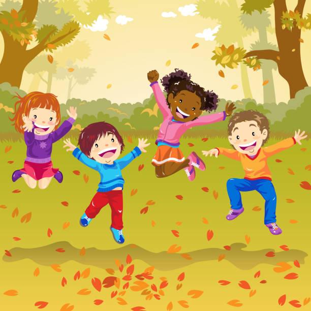 bildbanksillustrationer, clip art samt tecknat material och ikoner med barnen hoppar i höst - children autumn