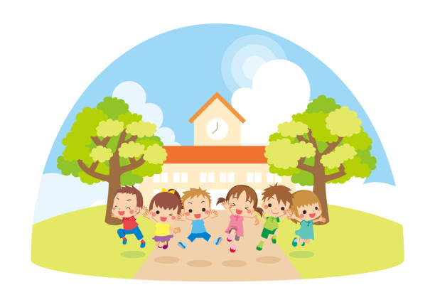 bildbanksillustrationer, clip art samt tecknat material och ikoner med barn hoppar framför dagis. - förskolebyggnad