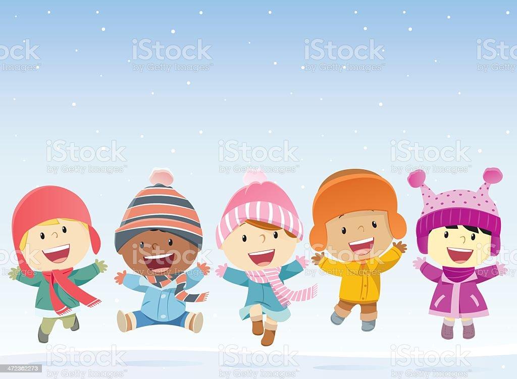 Dzieci Skoki w śniegu - Grafika wektorowa royalty-free (14-15 lat)