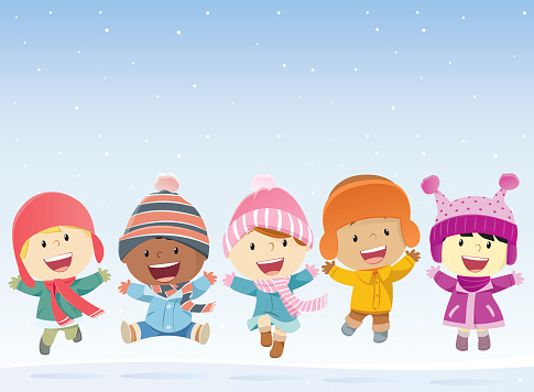 Kids Jumping In The Snow