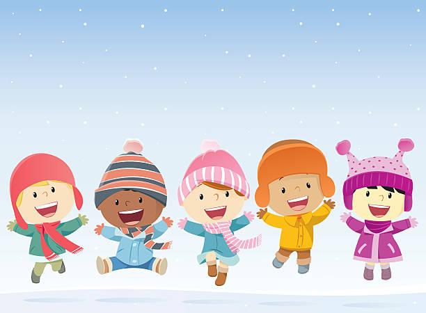 dzieci skoki w śniegu - happy holidays stock illustrations