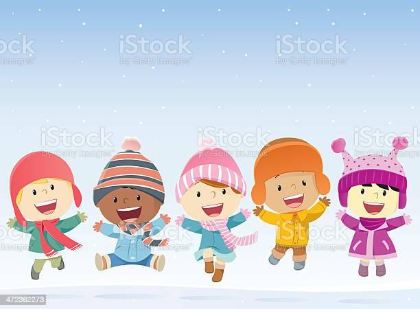 Dzieci Skoki W Śniegu - Stockowe grafiki wektorowe i więcej obrazów 14-15 lat