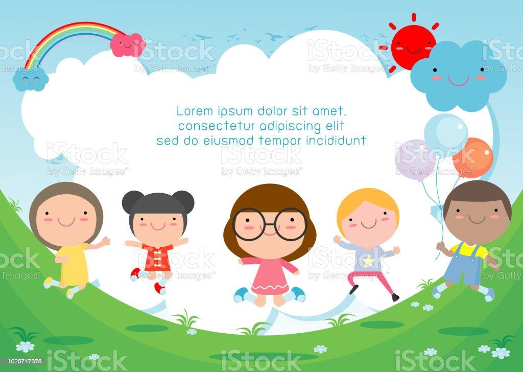 Ilustración de Niños Saltando En El Patio Los Niños Saltar Con ...
