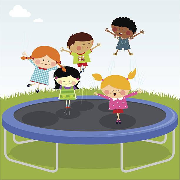 illustrations, cliparts, dessins animés et icônes de enfants de sauter sur un trampoline - nuage 6