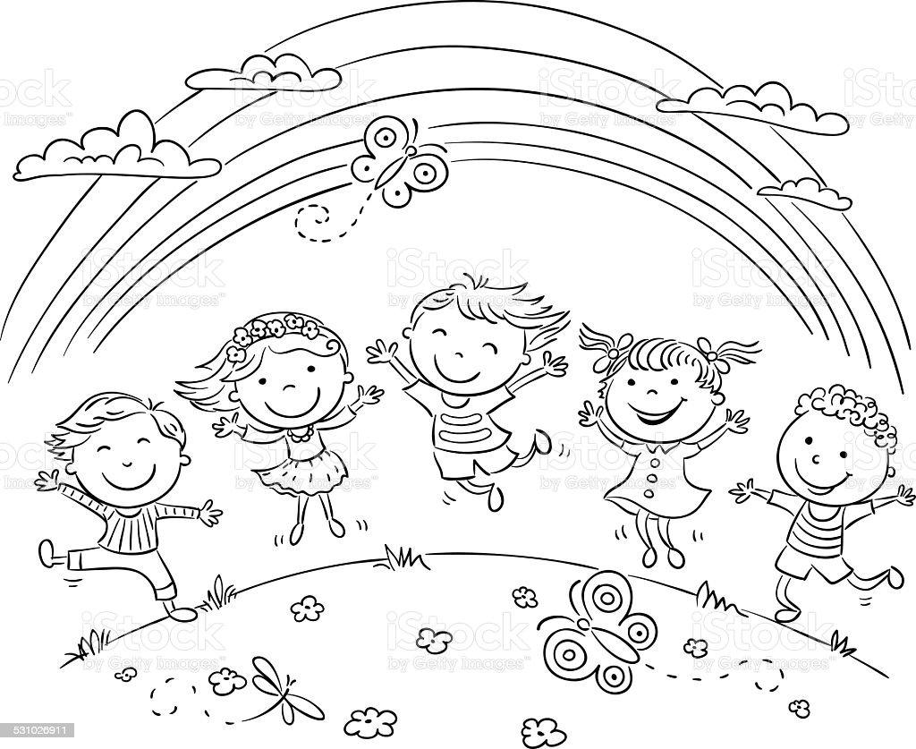 Bambini Saltando Di Gioia Su Una Collina In Arcobaleno Immagini