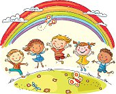Kids jumping with joy on a hill under rainbow, colorful cartoon, no gradients.
