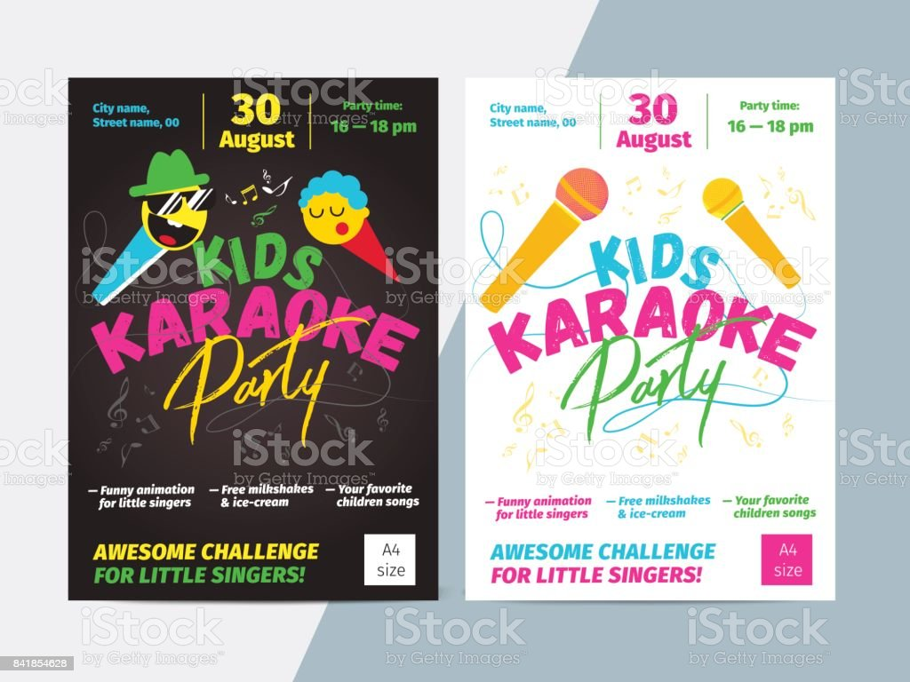 Kids karaoke party flyer with microphone and bright typography. Children music or song contest poster layout template design. vector art illustration