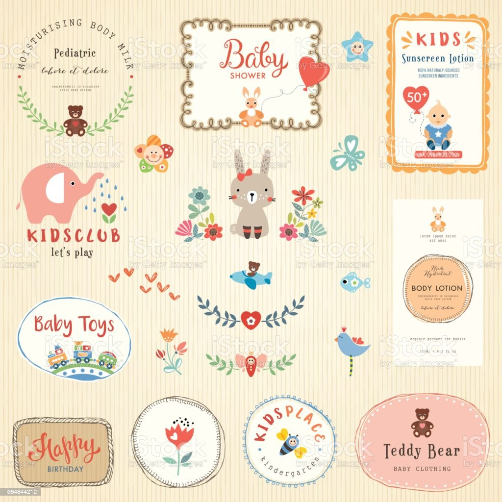 Kids Labels and Signs vector art illustration