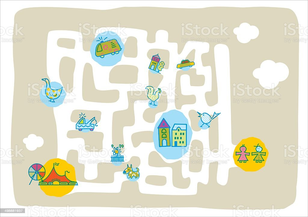kids labyrinth placemat vector art illustration