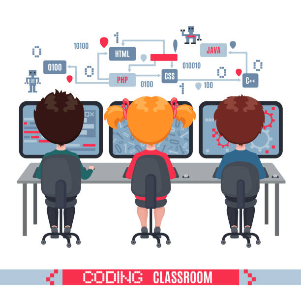 illustrazioni stock, clip art, cartoni animati e icone di tendenza di kids learn coding on laptops in school. - young digital