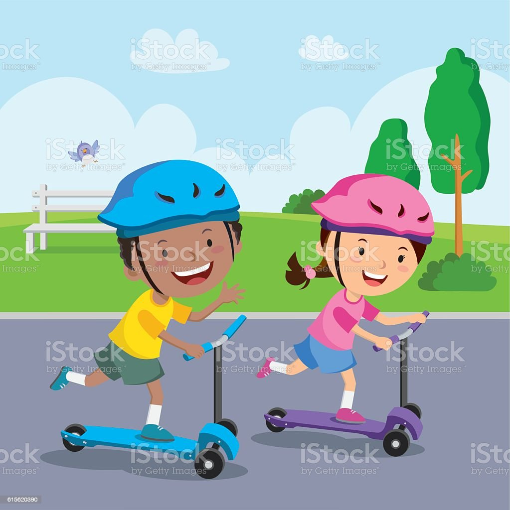 Kids learn to ride scooter