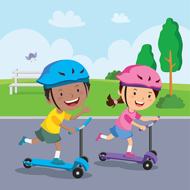 kids learn to ride scooter - motorroller stock-grafiken, -clipart, -cartoons und -symbole