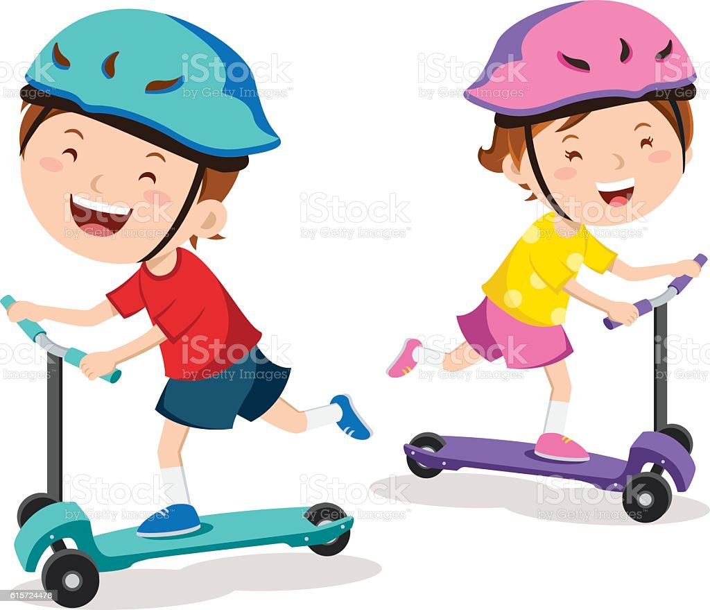 Kids learn to ride scooter vector art illustration