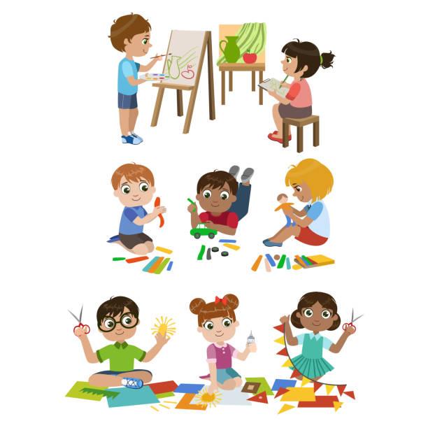 Kids Learning Craft Vector Art Illustration